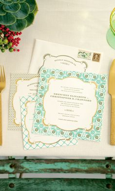 I like the shape of the invitation... Would like the colors in coral and gold like the other shabby chic invites I like