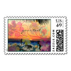 Hawaiian Surfers at Sunset/save date/DIY postage. Wanna make each letter a special delivery? Try to customize this great stamp template and put a personal touch on the envelope. Just click the image to get started!