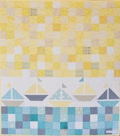 Nautical Baby Boy Sailboat Quilt in Yellow Gray by CharleyDeeandMe