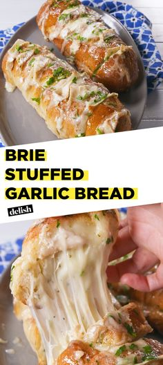 You're going to wish this Brie Stuffed Garlic Bread was free at every restaurant. Get the recipe at Delish.com. #recipe #easyrecipe #easy #cheese #bread #appetizer #italian