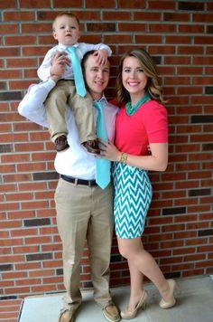 Coordinating Easter outfits: aqua, fuschia, chevrons