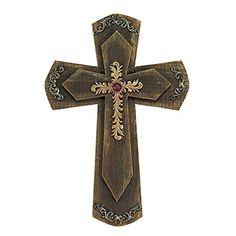 Floral Christian Wall Cross on Double Wood Crosses Wooden Crosses, Wall Crosses, Barbed Wire Art, Shabby, Cross Art, Cross Crafts, Sewing Art, Cross Designs, New Wall