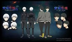 Ken Kaneki got a new wardrobe and hair color in Tokyo Ghoul (square root) A. First episode airs 1/08/2015.