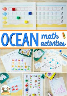 Preschool Ocean Theme Math Activities - Pre-K Pages Early Learning Activities, Graphing Activities, Ocean Activities, Preschool Activities, Math Games, Pre K Pages, Ocean Themes, Oceans, Ocean Crafts