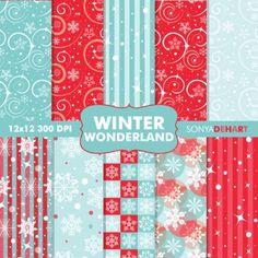 Digital Paper Pattern Pack Winter Wonderland Printable Scr