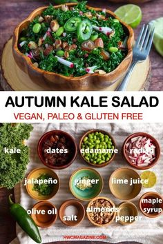 Autumn Kale Salad is an easy 15-minute healthy harvest detox salad with dates, toasted almonds, edamame beans, kale and radishes with a zippy Citrus ginger jalapeno maple dressing. Paleo friendly, vegan and gluten-free too! Recipe VIDEO included. #HWCMagazine #autumn #fallsalad #autumnsalad #kalesalad #choppedkalesalad #massagedkale #healthysalad #vegan #paleo #glutenfree #easyrecipe #saladrecipe #saladdressing #citrusdressing #dates #bestdressing #kale #autumnkalesalad #recipevideo