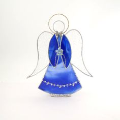 Angel Ornament Blue Stained Glass Handmade OOAK by Nostalgianmore, $65.00