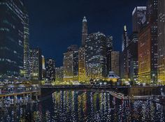 Chicago River at State Street, oil on canvas