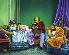La lettura (da Olympe Aguado, 1863) 2012, olio su lino, cm 120 x 150.