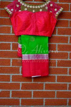 parrot green checks kanchi saree - Google Search