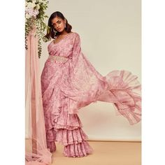 Trending: Ruffled Saree Ideas for Weddings 2019 - ShaadiWish Lace Saree, Saree Gown, Organza Saree, Sari, Saree With Pants, Manish Malhotra Saree, Bridal Wardrobe, Drape Sarees, Saree Trends