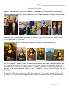 Make a parodie with their own photos or celebrities in Photoshop. No Corner Suns: Masterwork Parodies: A worksheet featuring American Gothic and the Mona Lisa coloring pages Art Sub Plans, Art Lesson Plans, American Gothic Parody, Art Critique, Art Handouts, 5th Grade Art, Jr Art, Art Worksheets, Art Lessons Elementary