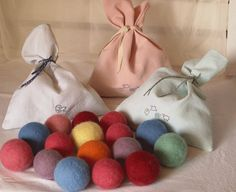 Waldorf Toy - Set of 7 colored and felted balls- ecological and plant dying- Ready to ship on Etsy, $40.00 AUD