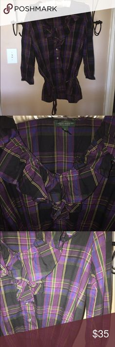 Ralph Lauren shirt beautiful plaid Ralph Lauren shirt, ties at bottom with loose fit sleeves Lauren Ralph Lauren Tops Button Down Shirts