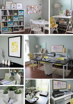 Creative craft space with work table and storage ideas. Great decor as well!