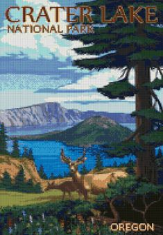 Oregon Crater Lake travel poster Cross Stitch pattern PDF - Instant Download! by PenumbraCharts on Etsy