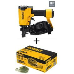 DEWALT Pneumatic Coil Roofing Nailer w/Bonus in. x Gal. Galvanized Steel Coil Roofing Nails - The Home Depot Roofing Nailer, Asphalt Roof Shingles, Nail Gun, Diamond Point, Air Tools, Galvanized Steel, Productivity, Compact, Nails