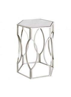 Worlds Away Morroco Silver Leaf Side Table