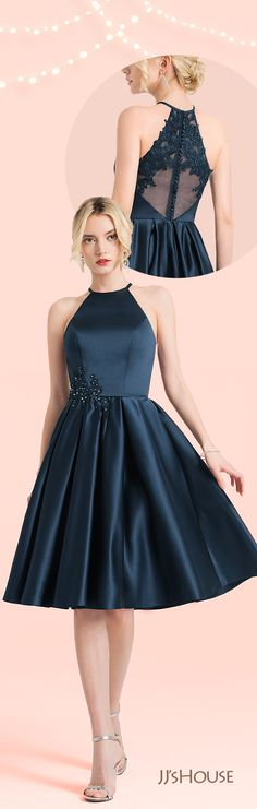 Scoop Neck Knee-Length Satin Cocktail Dress With Lace Beading #JJsHouse #Cocktail dresses