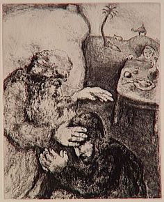 Blind Isaac blesses his second son Jacob (Genesis, XXVII, 26-29) - Marc Chagall