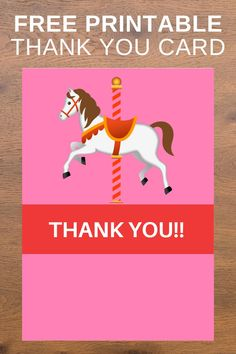 After your little girl has the most perfect carousel birthday party, you will need to send our this free printable carousel thank you card. There is a space at the bottom to write a special message for your guest. This thank you card download is easy to print and use on you home computer, prints 2 to a page. Be sure to print this carousel invite now to send out. Save this pin for later! Head on over to our blog, Vanahlynn.com to see our mermaid birthday cupcake ideas and unicorn banners. Unique Birthday Party Ideas, Carousel Birthday Parties, Pink And Gold Birthday Party, Carousel Party, Birthday Party Decorations Diy, Birthday Party Outfits, Winter Birthday, Kids Party Themes, Little Girl Birthday