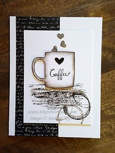 Coffee Time- made with Timeless Textures and Cups & Kettles Framelits 2016 Coffee Theme, Coffee Love, Coffee Cup, Coffee Break, Morning Coffee, Coffee Cards, Coffee Gifts, Diy Cards, Your Cards