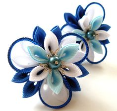 Kanzashi fabric flowers. Set of 2 ponytails . Blue and by JuLVa