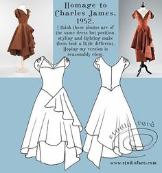 Pattern Puzzle - Homage to Charles James. Pattern Making Tutorial. Very Full Skirt with Front & Back Bodice. Love This Dress! by studiofaro.com