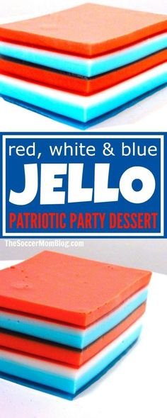 Red White & Blue Jello Ribbon Salad A total show-stopper! This patriotic Jello Ribbon Salad is a hit at every party we make it for – the perfect Fourth of July & Memorial Day dessert. Memorial Day Desserts, Memorial Day Foods, 4th Of July Desserts, Fourth Of July Food, 4th Of July Party, July 4th, Jello Desserts, Jello Recipes, Party Desserts