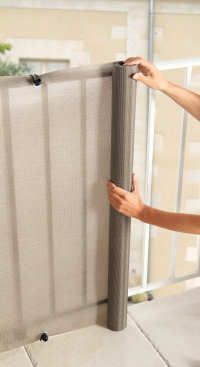 Privacy canvases for balconies - Grey also good to keep small pets safe.