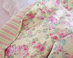 KING SHABBY PINK SUMMER ROSES BEACH COTTAGE CHIC QUILT & SHAMS...Mine!
