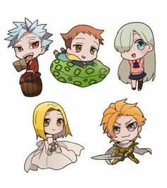 Chibi Nanatsu no Taizai Ban King Elizabeth Elaine Arthur Anime Chibi, Kawaii Chibi, Anime Kawaii, Manga Anime, Seven Deadly Sins Anime, 7 Deadly Sins, Nisekoi, Seven Deady Sins, Anime Nerd