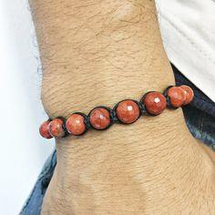 Pulseira Masculina Shambala Pedra Natural Jaspe Vermelho mens bracelets style fashion cocar brasil