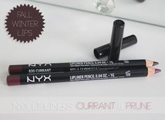 currant & Prune NYX- dupes fro Currant & Nightmoth MAC. (Prune is dupe for Nightmoth...Rebels lip liner)