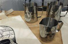 Milk Ink / The world's first tattooed milk pitcher! www.coffeeanddinges.com