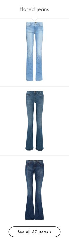 """flared jeans"" by lulucosby ❤ liked on Polyvore featuring jeans, pants, bottoms, housut, light indigo, flared jeans, high waisted flared jeans, frame jeans, high-rise flared jeans and frayed flare jeans"
