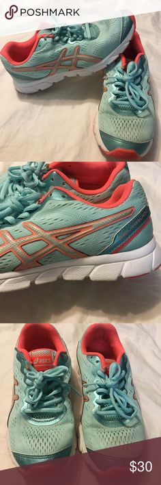 """ASICS gel havoc style# T46aq These are in GUC, they look brand new!   The only flaws you can see are in the inner ankle pink part where there is some wear, 2 small stains in the front (see pic#8) and some wear by the shoe laces. The color is like an aqua turquoise color  & a pink/orange coral color.   I am a posh ambassador & have positive feedback on my """"about me"""". Thanks for shopping in my closet ❤️ Asics Shoes Sneakers"""