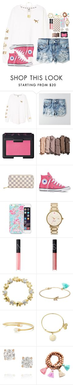 """""""idk how I feel abt this but I need advice someone pm me yo"""" by sydneylawsonn ❤ liked on Polyvore featuring Victoria's Secret PINK, American Eagle Outfitters, NARS Cosmetics, Urban Decay, Louis Vuitton, Converse, Lilly Pulitzer, Kate Spade, Classic Treasures and Lonna & Lilly"""