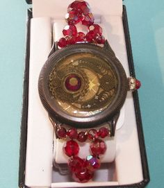 STEAMPUNK WATCH BRACELET Red beaded Steampunk by NonisEclecticShop, $32.00