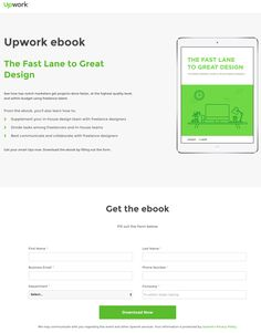 This picture shows marketers how Upwork uses an ebook download to generate leads and grow its email list.