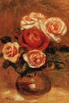 roses in a vase, renoir