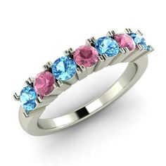 Round Blue Topaz Ring in 14k White Gold with Pink Tourmaline