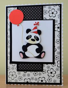 Handmade for kids scrap Handmade Card - Marianne Collectables Panda Die Cool Birthday Cards, Handmade Birthday Cards, Kids Cards, Baby Cards, Marianne Design Cards, Cricut Cards, Animal Cards, Cool Cards, Cardmaking