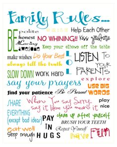 "Free ""Family Rules"" printable."