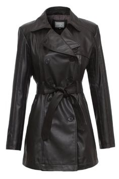 Special Price James&Co Womens Faux Leather Maureen Trench Coat M Black
