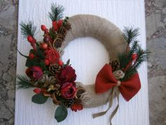winter wreath rustic home decor winter home by creationmoodmarias, €35.00