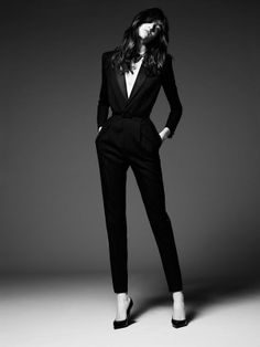 LOVE this all black outfit or jumpsuit! Gorgeous and extremely sexy! Grace Hartzel stars in Saint Laurent Paris' pre-fall ads Women's designer fashion clothing outfit Fashion Mode, Look Fashion, Womens Fashion, Trendy Fashion, Suit Fashion, Trousers Fashion, Lifestyle Fashion, Office Fashion, Luxury Lifestyle