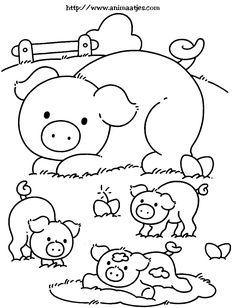 Kleurplaat: varkens
