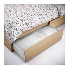 IKEA - MALM, High bed frame/4 storage boxes, Queen, Luröy, , The 4 large drawers on casters give you an extra storage space under the bed.Real wood veneer will make this bed age gracefully.Adjustable bed sides allow you to use mattresses of different thicknesses.16 slats of layer-glued birch adjust to your body weight and increase the suppleness of the mattress.