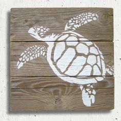 Turtle - Stencil Painting on reclaimed wood.
